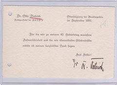 Otto Dietrich signed card
