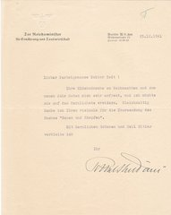 Letter signed by Richard-Walther Darre