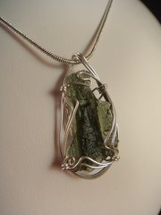 Moldavite in Sterling Silver Wrap