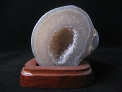 Agate Geode on Wood Base