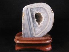 Polished Agate Geode on Wood