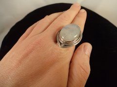 Huge Rainbow Moonstone Ring Size 7 Sterling Silver