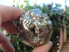 Polished Pyrite Sphere with Druzy