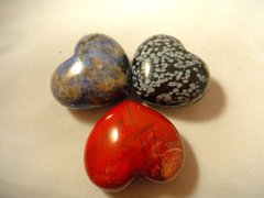 Three Rock Hearts (Sodalite, Jasper, Snowflake Obsidian)
