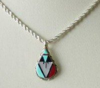 Zuni Gemstone Inlay Pendant