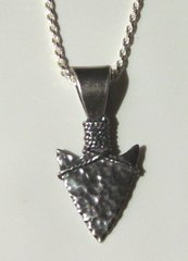 Sterling Silver Hammered Design Arrowhead Pendant