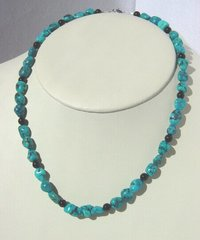 Authentic Turquoise Nugget Necklace with Onyx Beads - 20 Inch