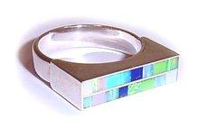 Opal, Turquoise, Lapis Gemstone Inlay Ring - 7 1/2