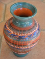 Navajo Pottery- Red Ceramic Hand Painted and Etched 8 Inch Vase - Now 60% OFF