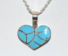 Heart Jewelry with Turquoise Inlay