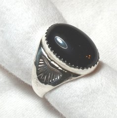 Mens Onyx Ring   Oval Design in Sterling Silver