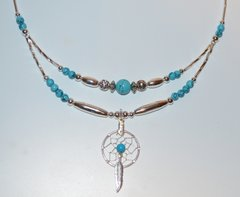 American Indian jewelry - Turquoise Half Double Dream Catcher Necklace