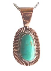 Copper Pendant with Sterling Silver and Turquoise