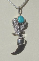 Eagle Pendant with Turquoise Nugget