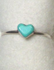 Turquoise Heart Ring Size 7 1/2