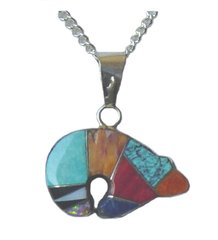 Bear Jewelry with Gemstone Inlay