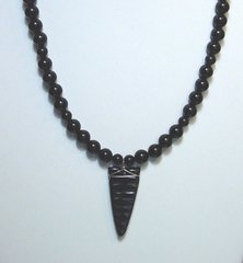 Onyx Bead Necklace with Jet arrowhead