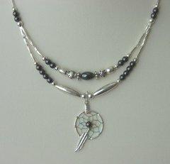 Dream Catcher Necklace with Hematite