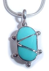 Sterling Silver Turtle with Turquoise Inlay - Pendant Only