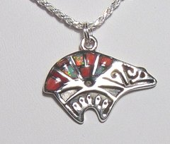 Bear Jewelry with Coral and Opal Inlay