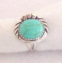 Turquoise Ring - Bead and Braid Design