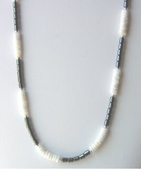 Hematite Necklace with White Shell