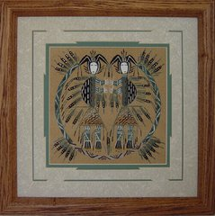 "Sand painting - 14 Inch - ""Twin Harvest"" Now 75% Off"