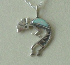 Kokopelli Pendant with Opal