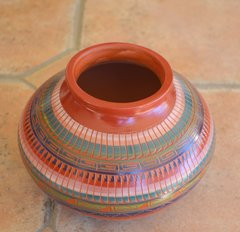 Navajo Pottery- Red Ceramic Hand Painted and Etched 5x7 Inch Vase - Now 60% OFF