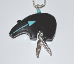 Black Bear Jewelry with Feathers