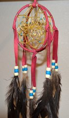 3 Dimensional Double Dreamcatcher - 4 Inch Red