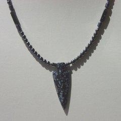 Snowflake Obsidian Arrowhead Necklace
