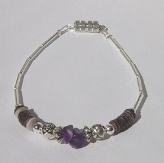 Amethyst Nugget Bracelet with Shell