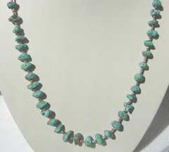 Turquoise Nugget with Heishi Shell Necklace made in America
