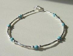 Turquoise - Liquid Silver - Anklet - Bracelet