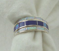 Sterling Silver Reversible Ring with Gemstone Inlay