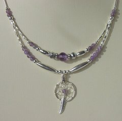 Dream Catcher Necklace with Amethyst