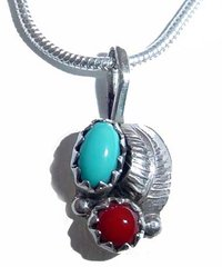 Turquoise and Coral Silver leaf Pendant - Pendant Only