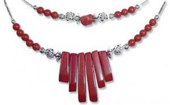 American Indian Jewelry - Red Jasper Spike Necklace