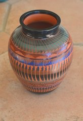 Navajo Pottery- Red Ceramic Hand Painted and Etched 6 Inch Ginger Vase - Now 60% OFF
