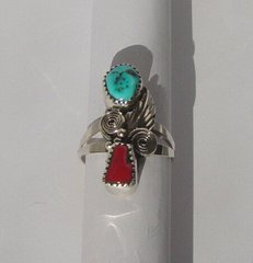 Turquoise and Coral Nugget Ring with Leaf