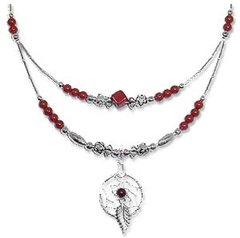 Red Jasper Necklace Half-Double with Dream Catcher