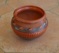 Navajo Pottery- Red Ceramic Etched & Hand Painted 3-1/2 Inch Vase - Now 60% OFF
