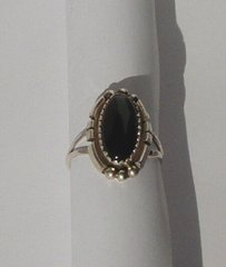 Sterling Silver Ring with Onyx Braid design