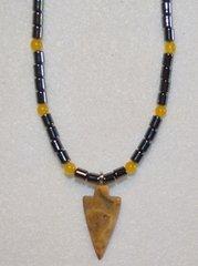 Hematine and Golden Jasper Arrowhead Necklace