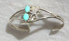 Sterling Silver Twist Wire - Double Turquoise Eagle - Bracelet