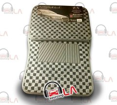BDK 4Pcs Floor Matts Checkered Style Print ( BEIGE )