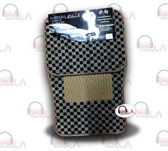 BDK 4Pcs Floor Matts Checkered Style Print ( Black )
