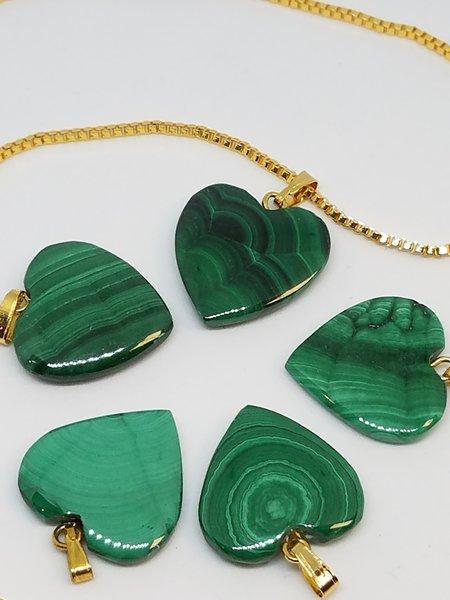 Malachite Heart Pendants