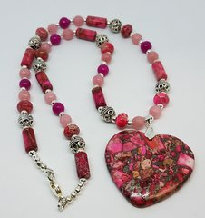 Pink Sea Sediment and Agate Heart Necklace